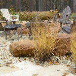 grass, rocks, seating