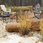 grass, rocks, seating