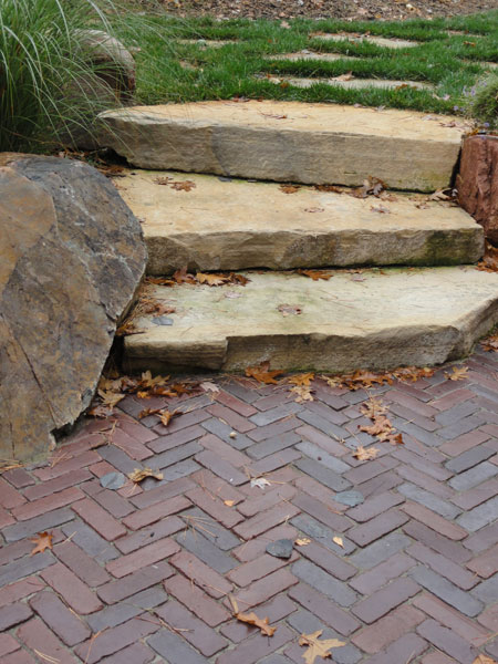 Random Flat Rock Staircase Leads To Paver Patio