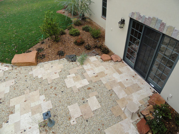 Overhead view of primitive patio