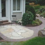 Flagstone inset into walkway to create patio space