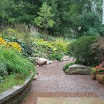 garden, path, plants, landscape, concret, pavers