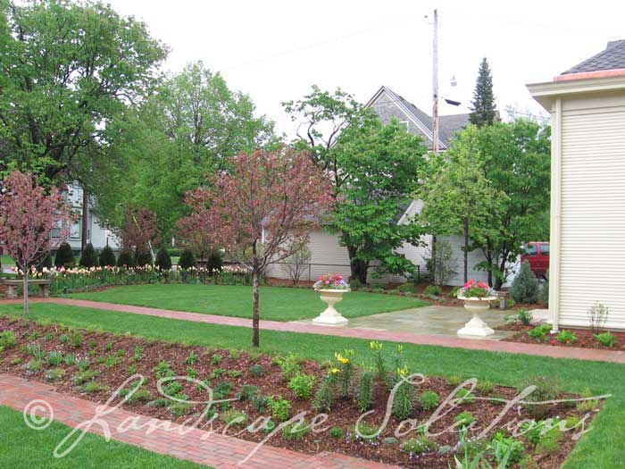 Gardens surrounding walking areas