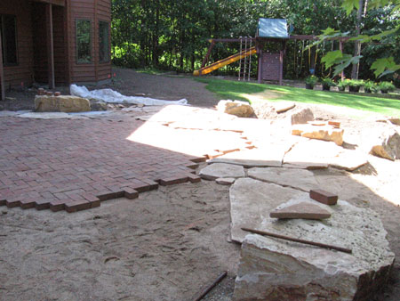 pavers, rock, decorative rock, patio, landscape